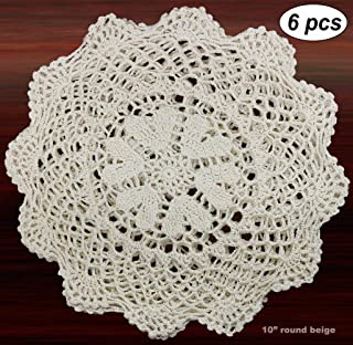 Creative Linens 6PCS 10 Inch Round Handmade Cotton Crochet Lace Doilies with Hearts Beige, Set of 6 Pieces For Valentine's Day, Mother's Day, Wedding Decoration