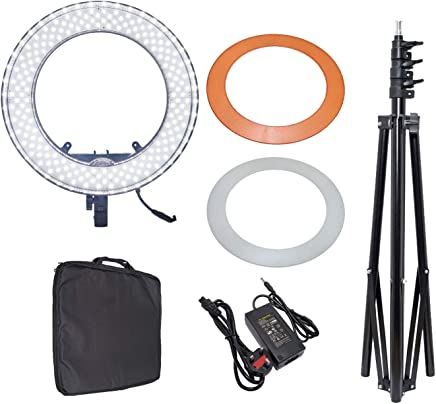 COOPIC RL-480S Camera Photo/Video 13 inches/33 centimeters Outer 40W 240 Pieces LED SMD Ring Light 5500K Dimmable Ring Video Light with Plastic Color Filter Set (Black Colour)