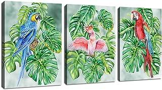 Canvas Wall Art Parrots Bedroom Wall Art Tropical Green Plants 12