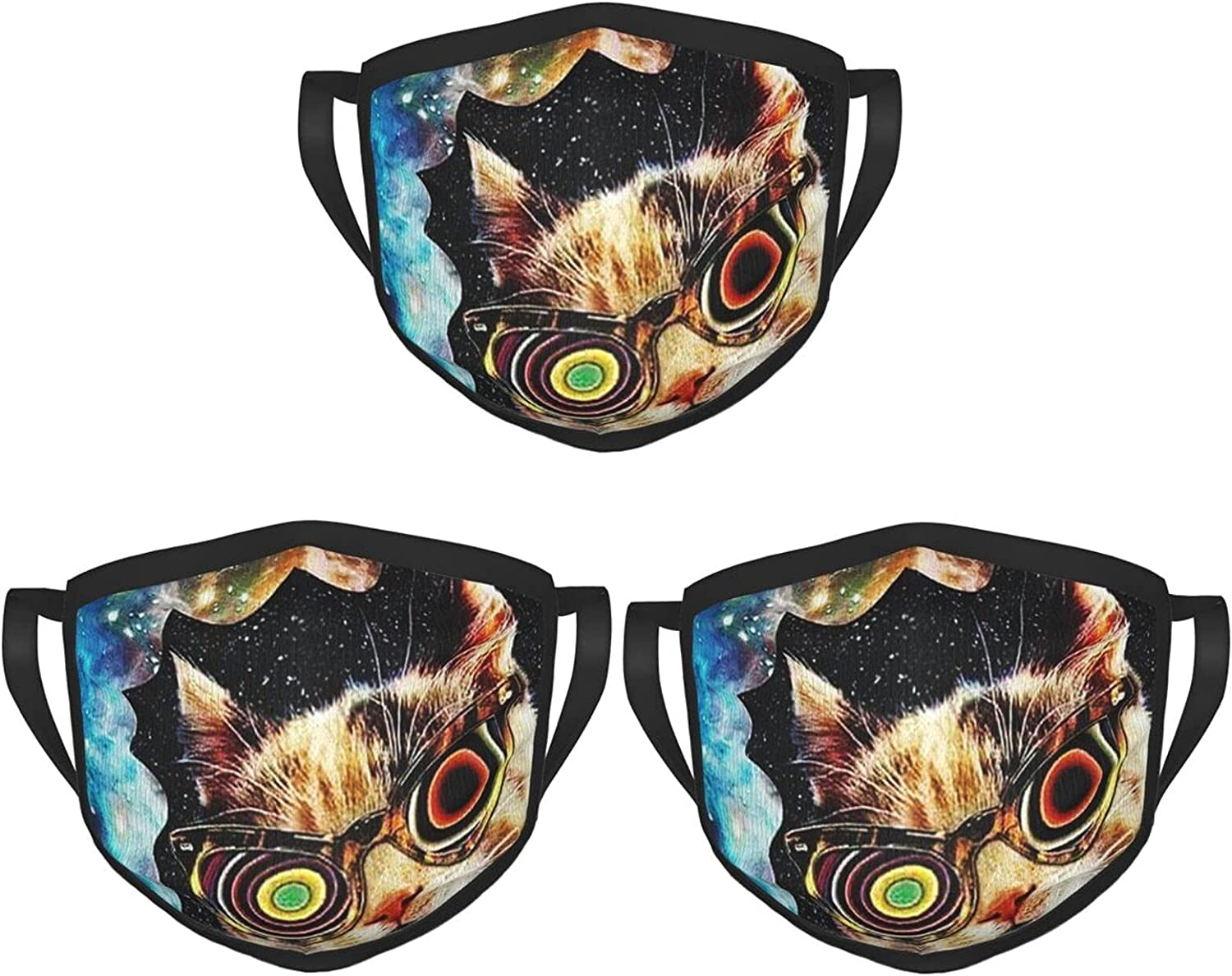 Balaclava Earmuffs Funny Cat Smoking Starry Sky Smoke Face Mouth Cover Mask Reusable Windproof Scarf Towel Cover Headwrap