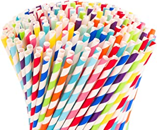 Hiware 500-Pack Biodegradable Bulk Paper Straws - 10 Different Colors Rainbow Stripe Paper Drinking Straws - Paper Straws ...