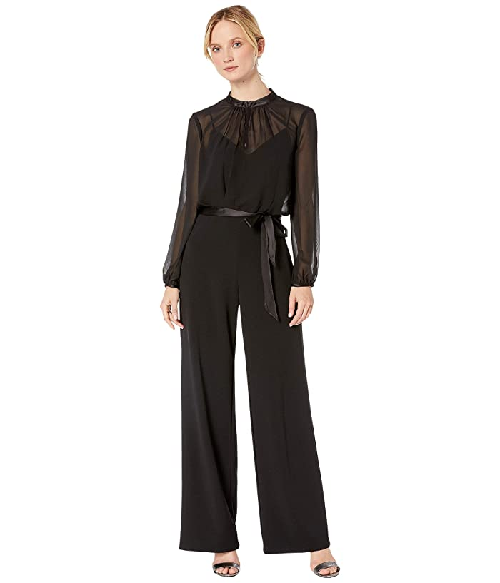 Adrianna Papell  Knit Crepe and Chiffon Jumpsuit (Black) Womens Jumpsuit and Rompers One Piece