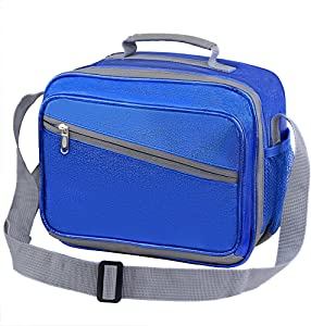 Kids Lunch Bag for Bento Boxes,New Scale Reusable Insulated Cooler Lunch Box w/Shoulder Strap for Teens Boy School Picnic Organizer Keep Food Warm Cold Freezable Water-resistant Thermal-Sparkly Blue