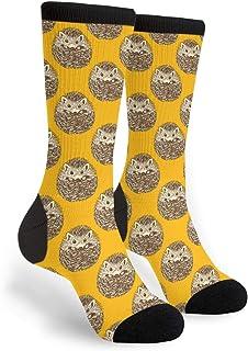 Women's Men's Fun Novelty Crazy Crew Socks Cute Hedgehog Dress Socks