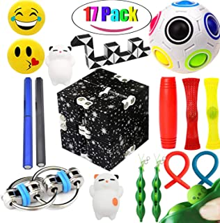 The Ultimate Sensory Fidget Toys Kit for Kids Prime 20 Packs Fidget Cube/Infinity Cube/Twisted Toy/Squishy Ball/Squeeze Bean/Fidget Pen/Rainbow Magic Balls ADD ADHD Stress Relax.