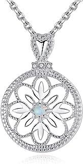 GemShadow donne ragazze 925sterling Silver Hollow Flower creato opale collana