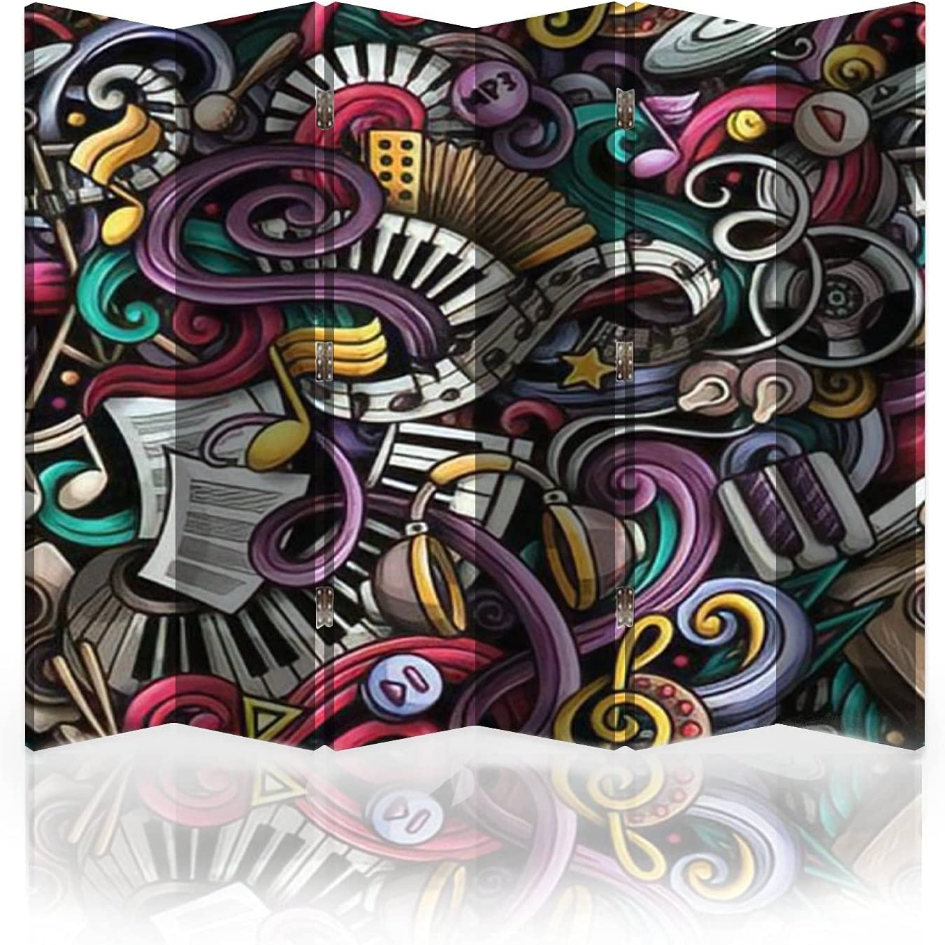 Canvas Room Divider Screen Music Drawn Doodles Pat Hand Seamless Limited time cheap sale Luxury