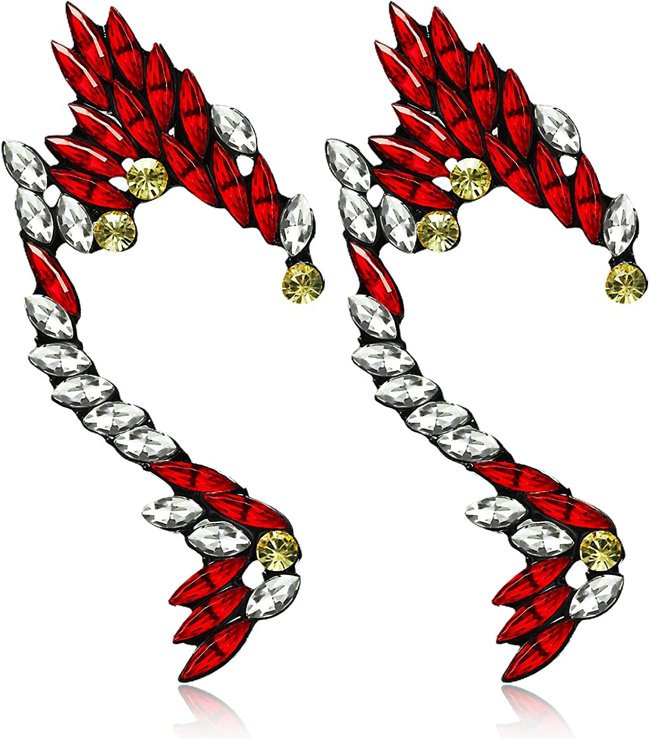 Herdear Colorful Diamond Ear Clips Red White Punk Crystal Ear Cuffs Exaggerated Fantasy Color Accessory for Women Girls