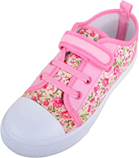 Absolute Footwear Girls/Childrens/Kids Floral Canvas Shoes/Pumps/Trainser with Ripper Fastening