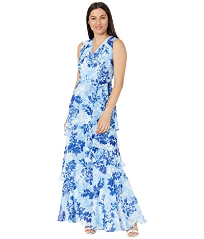 Tahari by ASL Tiered Gown with Surplus Neck