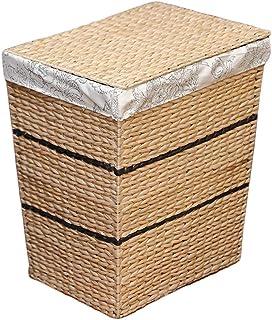 ZTMN Paniers à Linge boîte de Rangement rotin boîte de Rangement Maison vêtements vêtements avec Couverture 42 * 35.2 * 48cm