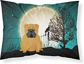 Caroline's Treasures BB2312PILLOWCASE Halloween Scary English Bulldog Red Fabric Pillowcase, Standard, Multicolor