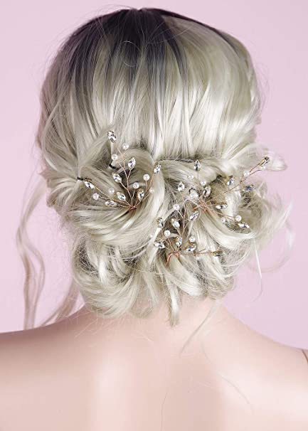 rhinestone hairpin crystal bridal hair pearl bridal hairpins Rose Gold Crystal wedding hair pin Karina Rose Gold Hairpin