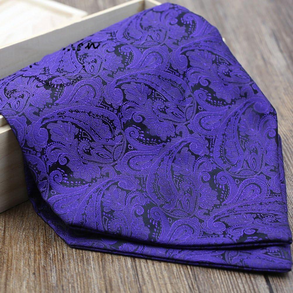 LIANGJUN Men Necktie Elegent Silk Cravat Shirt Scarf Formal Occasions Office Wedding, 130X15.5cm (Color : Blue Purple)