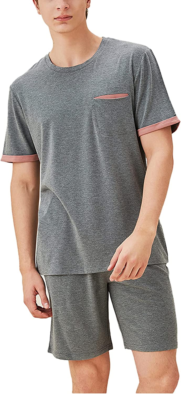 LZJDS Mens Pajamas Set Cotton Crew Neck Short Sleeve Shorts PJS Set Sleepwear M-XXL,Gray,XL
