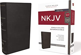 NKJV, Single-Column Reference Bible, Genuine Leather, Black, Comfort Print: Holy Bible, New King James Version
