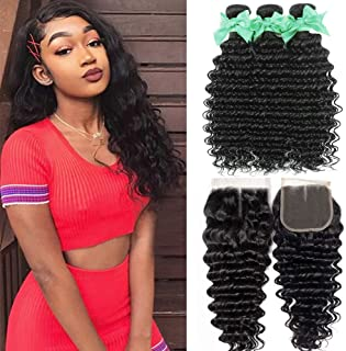Deep Wave Human Hair 3 Bundles With 4x4 Lace Closure Middle Part Ocean Wave 100% Unprocessed Virgin Human Hair Extensions Wet and Wavy Deep Curly Closure Can be Dyed Natural Color (14 16 18+12closure)
