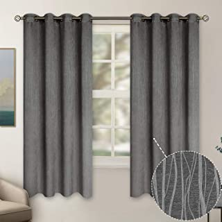 BGment Embossed Blackout Curtains for Bedroom - Grommet Thermal Insulated Room Darkening Curtains for Living Room, 52 x 63 Inch, Set of 2 Panels, Siver Grey