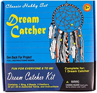 West Coast Paracord Retro Crafting Kit – Dream Catcher – 22 Yards (20 Meters) of Yarn – Ring, Beads, and Feathers