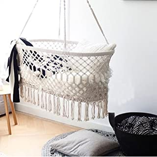 """Here&There Macrame Cradle Hanging Hammock for Baby Girl/Boy Pure Cotton Knit Baby Crib 90x55x34 cm/35""""x21.6""""x13.4"""""""