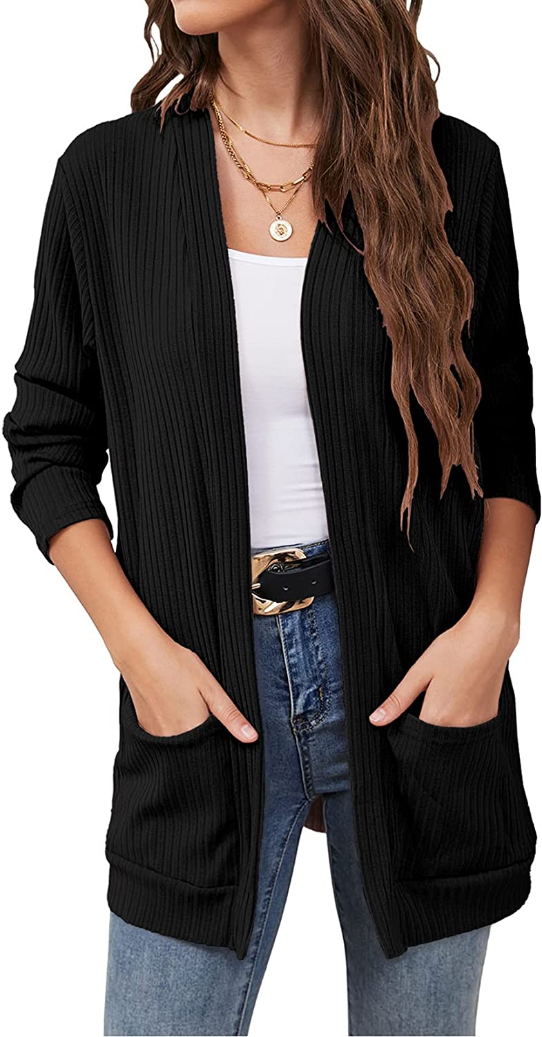 OURS Womens Open Front Long Sleeve Cardigan with Pockets Loose Casual Knit Sweaters Outwear