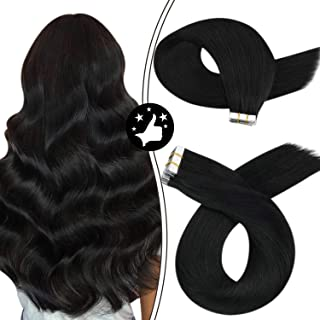Moresoo Tape in Hair Extensions Human Hair 22Inch Tape in Extensions Human Hair Skin Weft Jet Black Hair Extensions Straig...