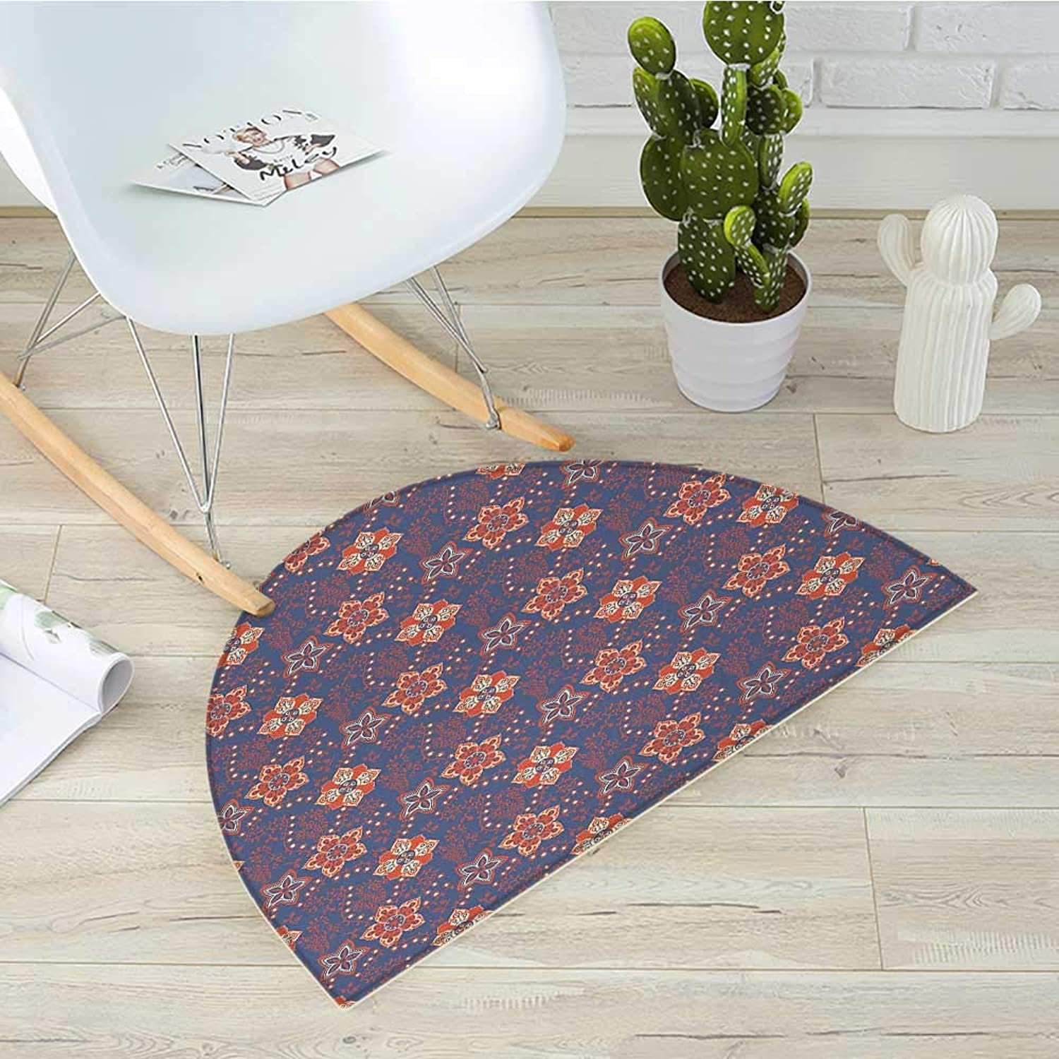 Floral Semicircle Doormat Flower Scroll Pattern with Swirled Branches Leaves and Blossoms Persian Halfmoon doormats H 43.3  xD 64.9  Cadet bluee orange Cream