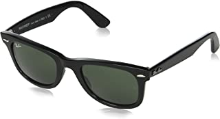 Ray-Ban Black-Crystal Green 0Rb2140 Classic Wayfarer Sunglasses (One Size, Black)