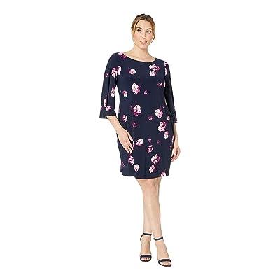 LAUREN Ralph Lauren Plus Size Bazzy B758 Ombra Floral Day Dress (Lighthouse Navy/Purple/Multi) Women