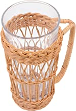 TOPBATHY Rustic Glass Bottle Vase Coastal Style Hydroponic Vase with Rattan Cover and handle Farmhouse Planter Country Vas...