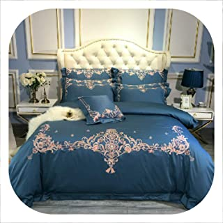 SHILINWEI Egyptian Cotton King Size Queen Bedding Set Blue Gray Bed Sheet Fitted Sheet Embroidery Duvet Cover Bed Set Parure De Lit,Bedding Set 7,Queen Size 4Pcs,Bed Sheet Style