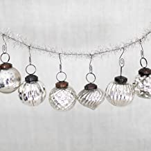6 Silver Glass Mercury Christmas Tree Ornaments - 2