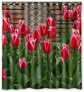 Charming Red Edge Tulips White Best Home Fashion Custom Fabric Bathroom Shower Curtain 66(W)X72(H)