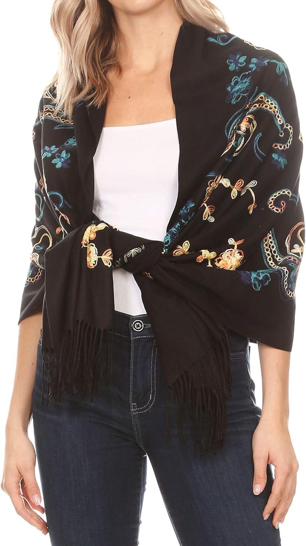 Sakkas Ginata Women's Large Casual Super Soft Embroidery Scarf Shawl Wrap Stole