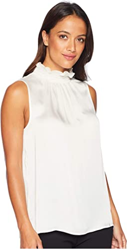 Sleeveless Yoryu Satin Ruffle Smocked Neck Blouse