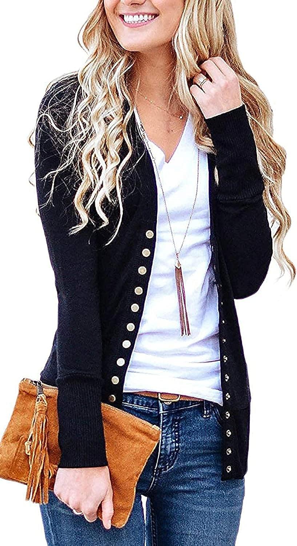 ZOCANIA Women's V-Neck Button Down Knitwear Long Sleeve Soft Basic Knit Cardigan Sweater