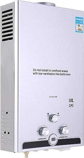 Valens 18L LPG Gas-Durchlauferhitzer Warmwasserbereiter Durchlauferhitzer mit Bildschirm Heißwasserbereiter Boiler Warmwasserspeicher Tankless…