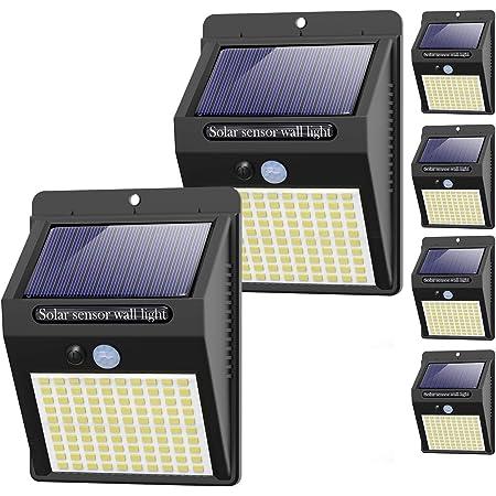 【6 Pack - 3 Mode】Lampe Solaire Extérieur, Hepside 100 LED Lumiere Solaire Exterieur Éclairage Solaire Exterieur Detecteur de Mouvement Spot Solaire Étanche Sécurité Sans Fil Applique LED pour Jardin
