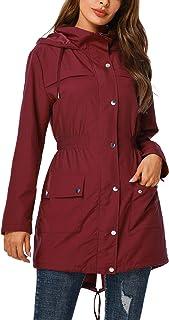 Rain Jacket Women Waterproof with Hood Outdoor Raincoat Active Lightweight Jacket S-2XL