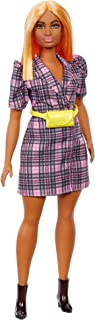 """""""Barbie Fashionistas Doll #161, Curvy with Orange Hair Wearing Pink Plaid Dress, Black Boots & Yellow Fanny Pack, Toy for ..."""