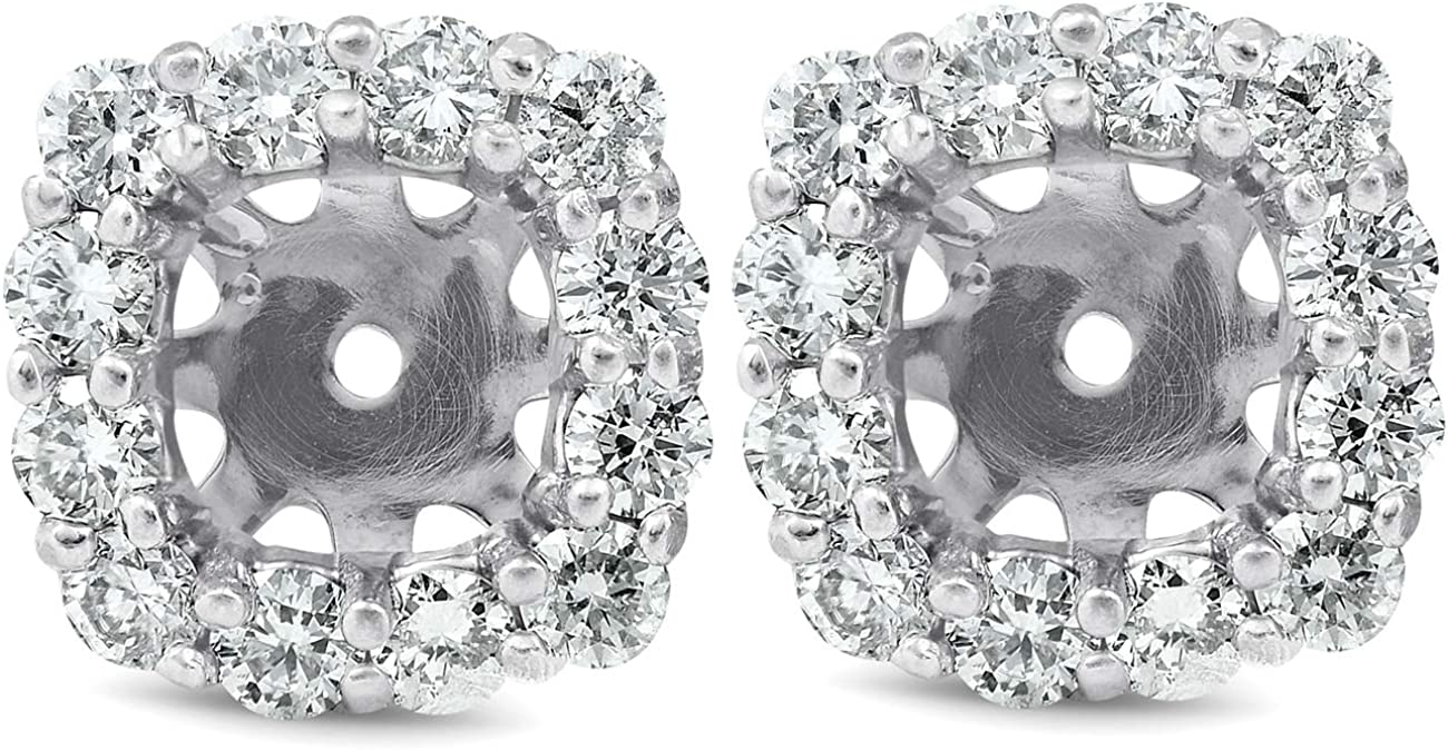 3/4 Ct Diamond Stud Earring Cushion Halo Jackets 14k White Gold (5-5.5mm)