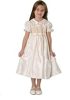 Little Girls Smocked Flower Girl Dress 100% Silk Ivory Christmas Dress