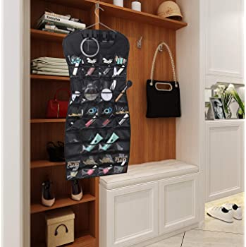 MISSLO Dual sided Hanging Jewelry Organizer with 40 Pockets and 24 Hook & Loops Closet Necklace Holder for Earring Br...