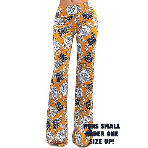 121c5f76ac0a Vivicastle Women's USA Fold Over High Waist Wide Leg Long Palazzo Pants