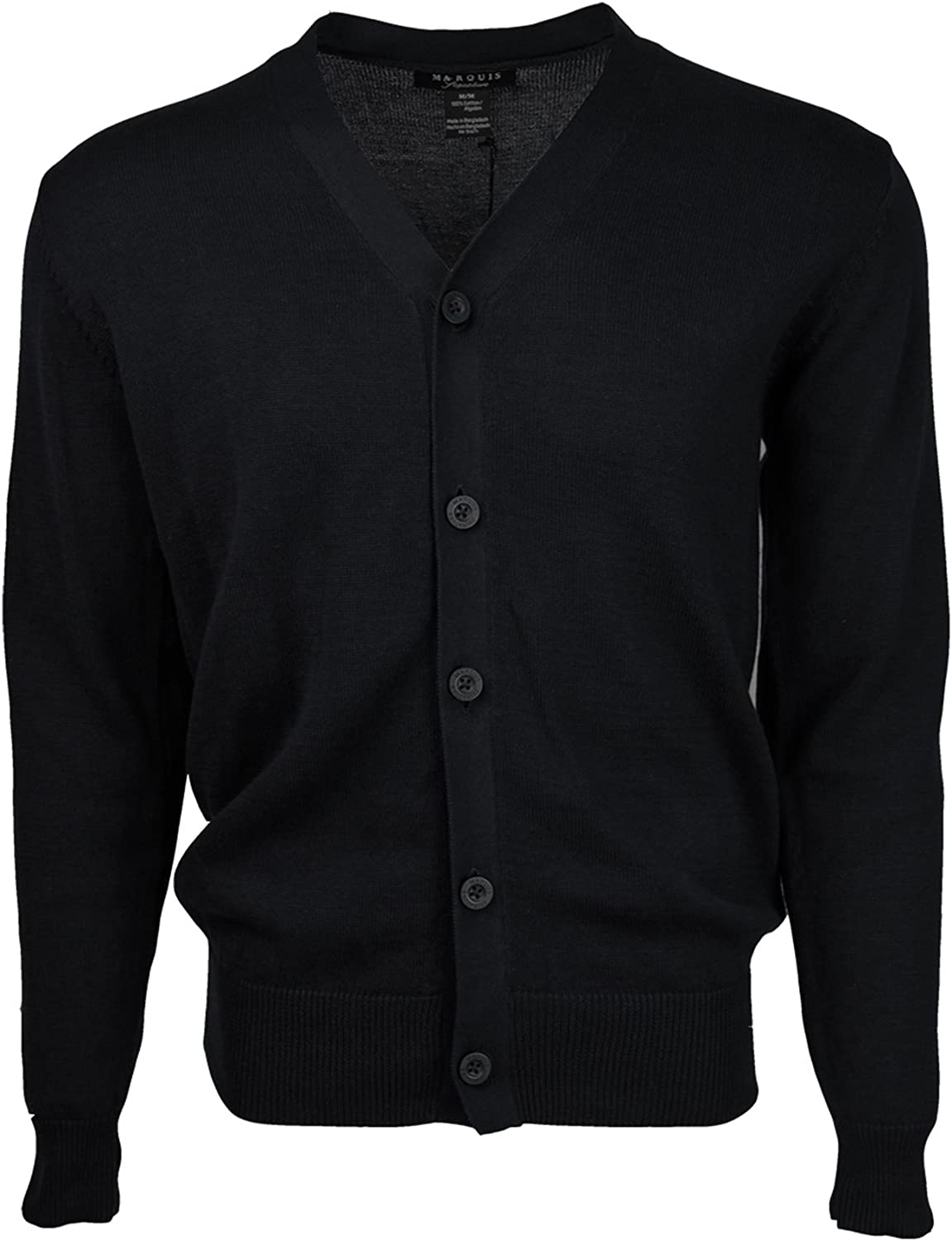 Bargain Dealing full price reduction sale Marquis Men's Black Solid Cotton Cardigan Button Sweater