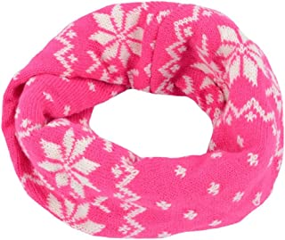 EUBUY Knitted Snowflake Style Winter Neck Warmer Circle Loop Scarf Scarves Wrap For Baby Toddler Kids(Hot pink)