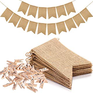Koogel 30PC Burlap Banner Set,29ft Fall Burlap Banner 30PC Small Clothespins Mini Wooden Clothespins for Birthday/Wedding/Baby Shower/Graduation Party Decorate