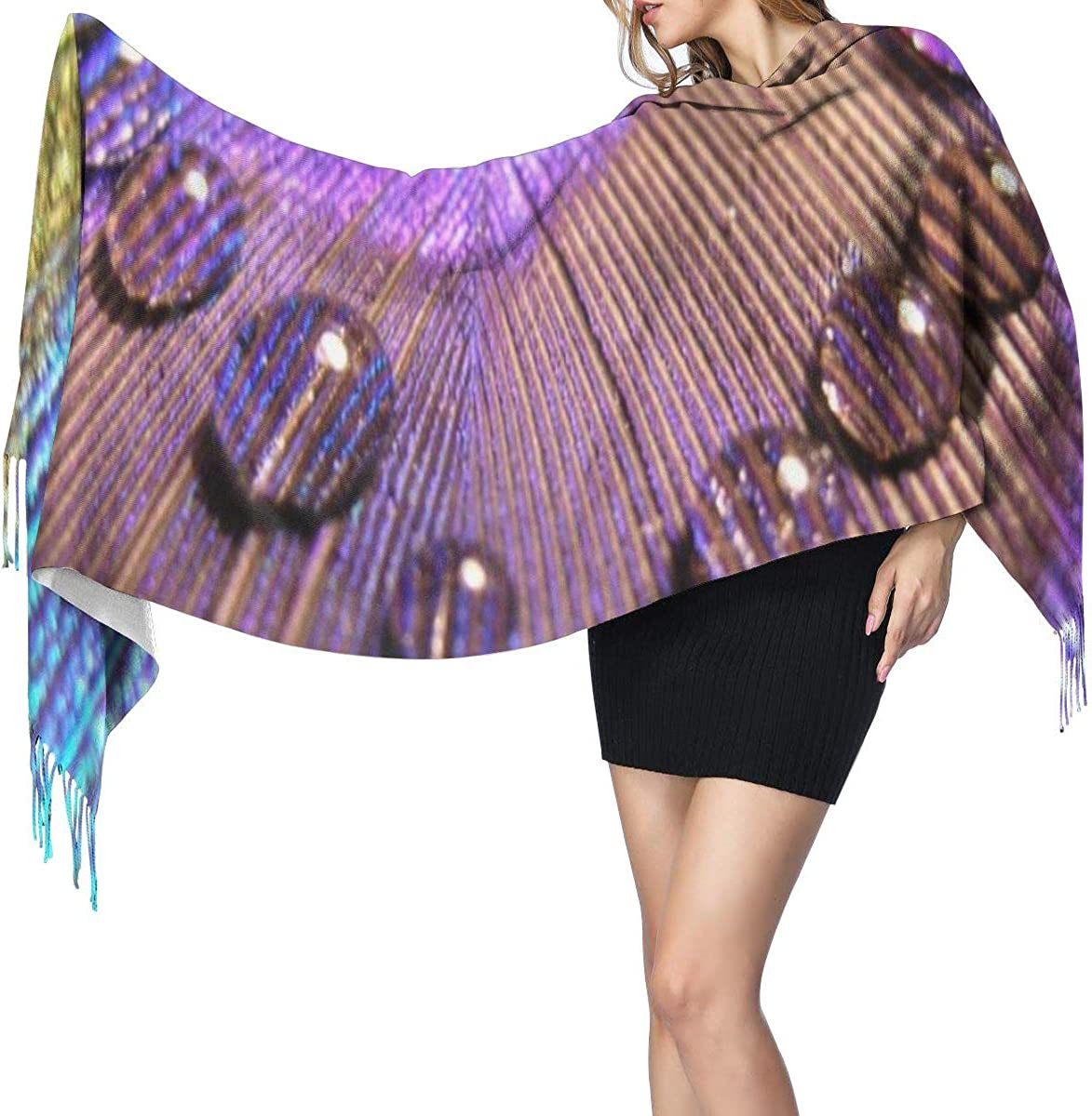 Peacock Feathers Women'S Long Shawl Scarf Winter Warm Large Lambswool Scarf