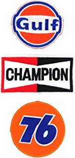 Set_MOTOR009 - Union 76 Patch, Auto Racing Patches Set - Motor Patches - Applique Embroidered patches - Iron on Patches - Backpack Patches - Champion Patch, Gulf Patch, Union 76 Patch