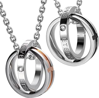 Beydodo Stainless Steel Necklace for Women CZ Two Interlocking Ring Necklaces for Wedding Party